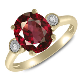 Ring with Rhodalite Garnet & Diamond in 10ct Yellow Gold
