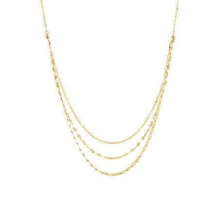 Adjustable Layer Chain Necklace in 10ct Italian Yellow Gold