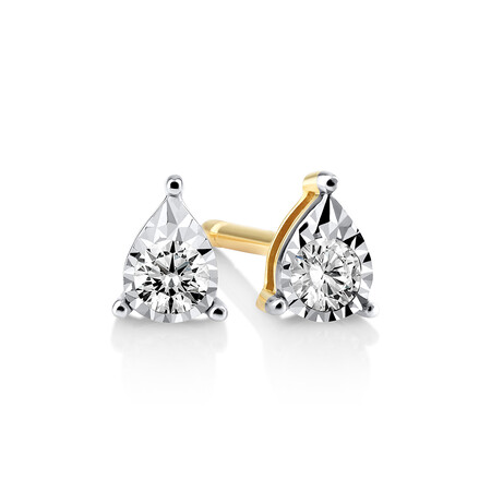 Pear Stud Earrings with 0.10ct TW Diamonds in 10ct Yellow Gold