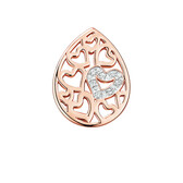 Diamond Set Heart Pattern Mini Coin Locket Insert in 10ct Rose Gold