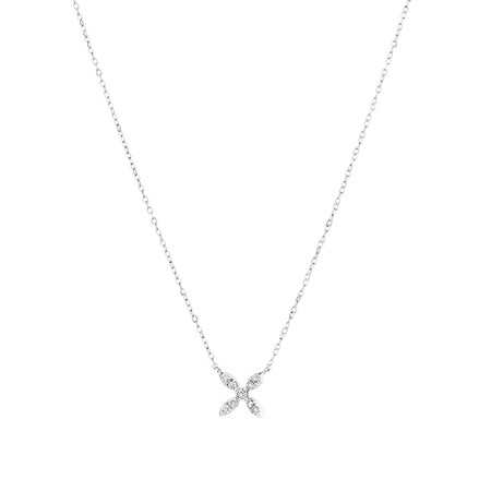 Flower Necklace with 0.15 Carat TW Of Diamonds in 10ct White Gold