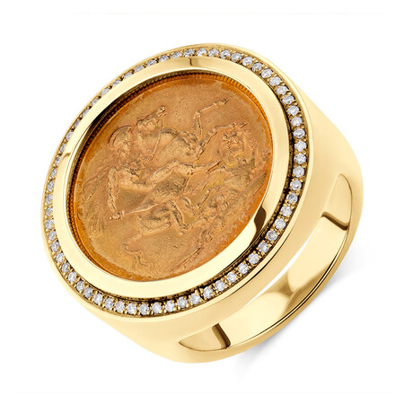 Sovereign Coin Ring with 0.30 Carat TW of Diamonds in 10ct & 22ct Yellow Gold
