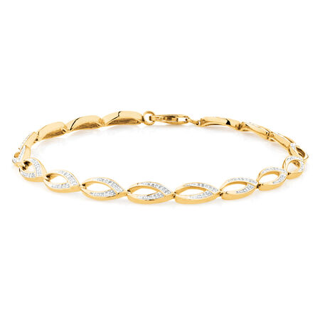 Fancy Bracelet with 0.29 TW of Diamonds in 10ct Yellow Gold
