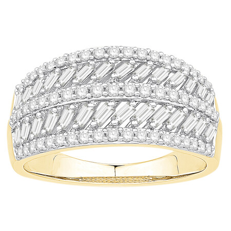 Five Row Ring with 0.75 Carat TW of Diamonds in 10ct Yellow Gold