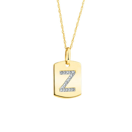 """""""Z"""" Initial Rectangular Pendant With Diamonds In 10ct Yellow Gold"""