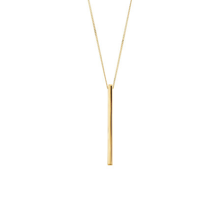 Vertical Bar Pendant In 10ct Yellow Gold