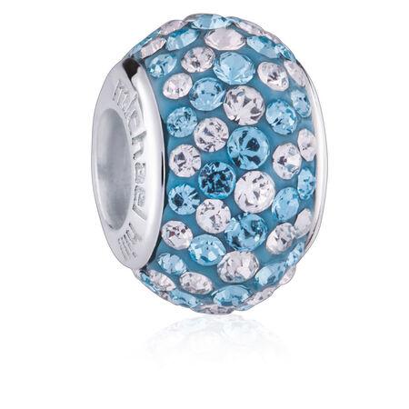 Aqua & White Crystal Charm