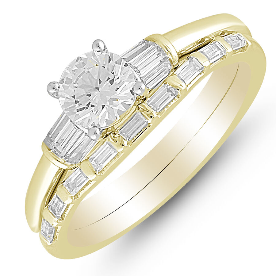 Bridal Set with 1.00 Carat TW of Diamonds in 10ct Yellow & White Gold