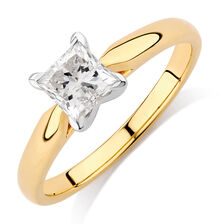 Solitaire Engagement Ring with 0.70 Carat Diamond in 14ct Yellow & White Gold