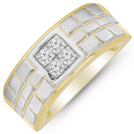Four Stone Ring with 0.25 Carat TW of Diamonds in 10ct Yellow Gold
