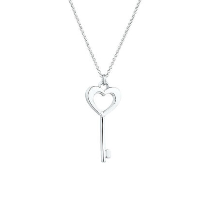 Heart Key Pendant in Sterling Silver