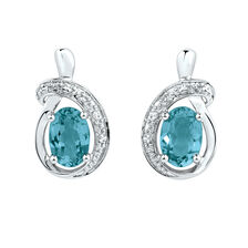 Drop Earrings with Blue Topaz in 10ct White Gold