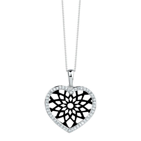 Online Exclusive - Heart Pendant with 0.20 Carat TW of Diamonds in 10ct White Gold