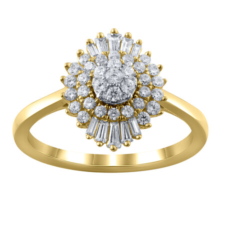 Cluster Ring with 0.62 Carat TW of Diamonds in 10ct Yellow Gold