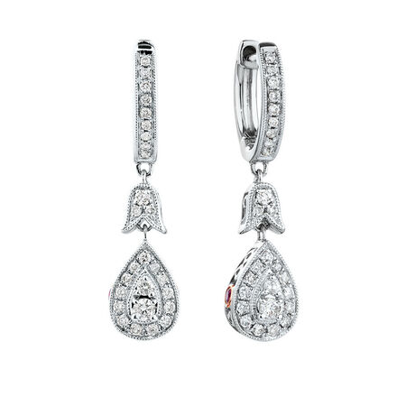 Sir Michael Hill Designer GrandAmoroso Drop Earrings with 0.33 Carat TW of Diamonds in 10ct White & Rose Gold
