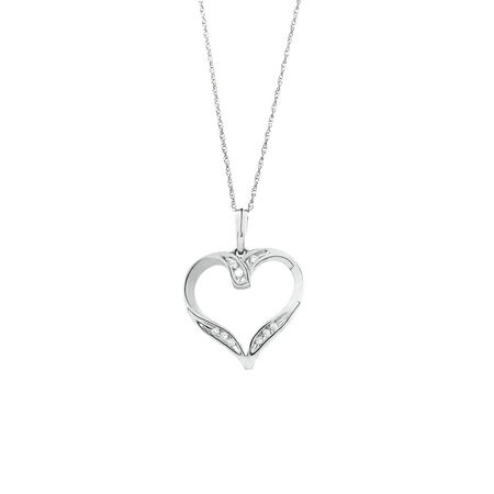 Heart Pendant with 0.15 Carat TW of Diamonds in 10ct White Gold