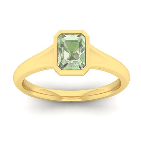 Ring with Green Amethyst in 10ct Yellow Gold