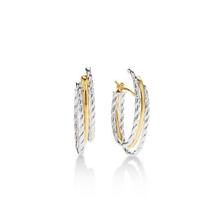 Rope Hoop Earrings in 10ct Yellow & White Gold