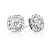Cluster Earring with 1 Carat TW of Diamonds in 10ct White Gold