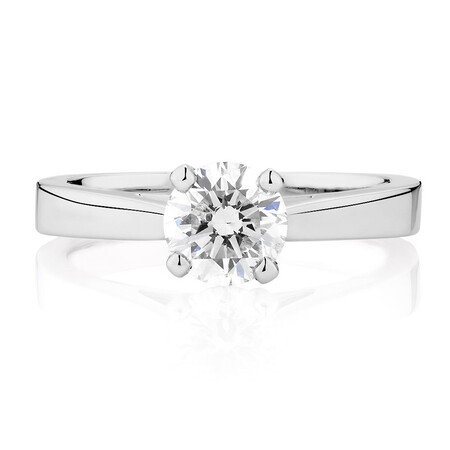 Online Exclusive - Certified Solitaire Engagement Ring with a 0.95 Carat Diamond in 14ct White Gold