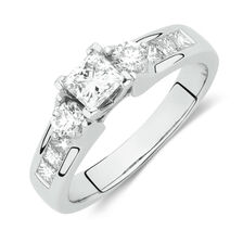 Online Exclusive - Side Accent Ring with 1 Carat TW of Princess Cut and Round Brilliant Diamonds in 18ct White Gold