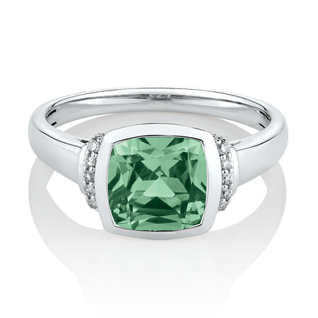 Ring with Created Green Sapphire & Diamonds in 10ct White Gold