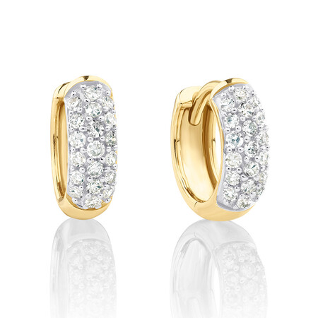 Mini Hoops with 0.25 Carat TW of Diamonds in 10ct Yellow Gold
