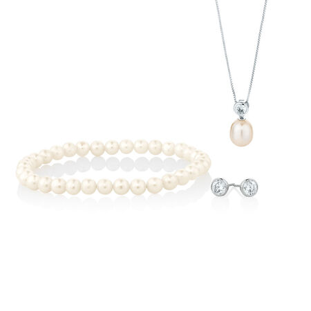 Earrings, Pendant & Bracelet Boxed Set With Cultured Freshwater Pearl & Cubic Zirconia in Sterling Silver