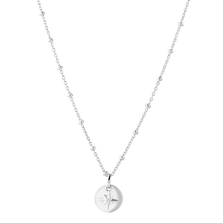 North Star Pendant with Cubic Zirconia in Sterling Silver