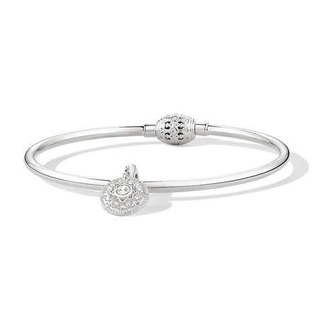 """19cm (7.5"""") Bangle & Charm with Cubic Zirconia in Sterling Silver"""