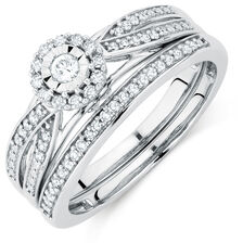 Promise Ring Bridal Set with 1/4 Carat TW of Diamonds in 10ct White Gold