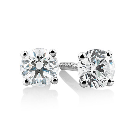 Laboratory-Created 0.50 Carat Stud Earrings In 10ct White Gold