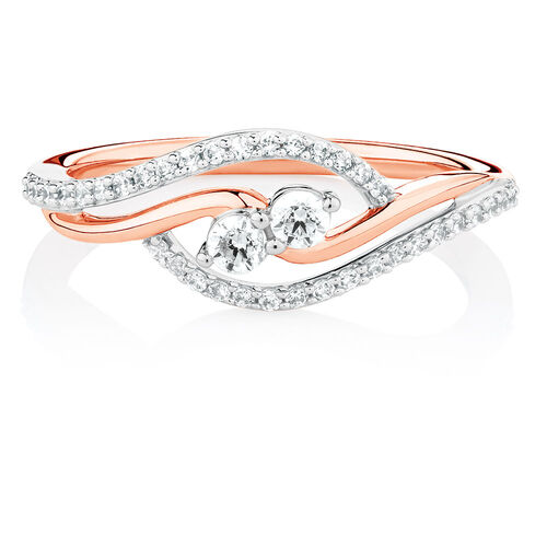By My Side Ring with 1/3 Carat TW of Diamonds in 10ct Rose Gold
