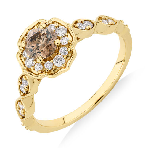 Evermore Engagement Ring with 0.75 Carat TW of Brown & White Diamonds in 14ct Yellow Gold