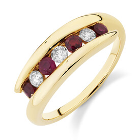 Ring with Natural Ruby & 0.22 Carat TW of Diamonds in 10ct Yellow Gold