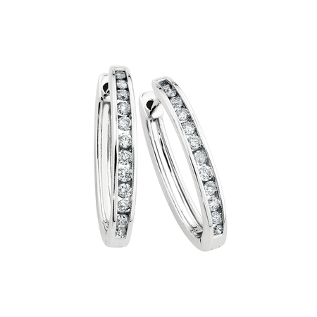 Oval Huggie Earrings with 0.50 Carat TW of Diamonds in 10ct White Gold
