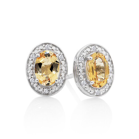 Halo Earrings with Citrine & Diamonds in Sterling Silver