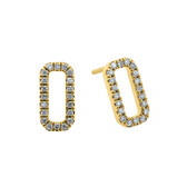 Rectangle Stud Earrings with 0.15 Carat TW of Diamonds in 10ct Yellow Gold