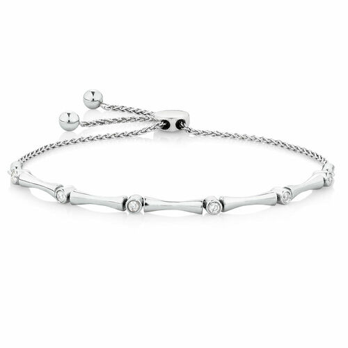 Adjustable Bracelet with 0.15 Carat TW of Diamonds in Sterling Silver