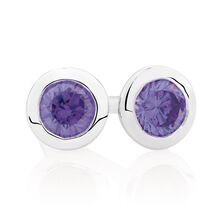 Purple Cubic Zirconia & Sterling Silver Stud Earrings
