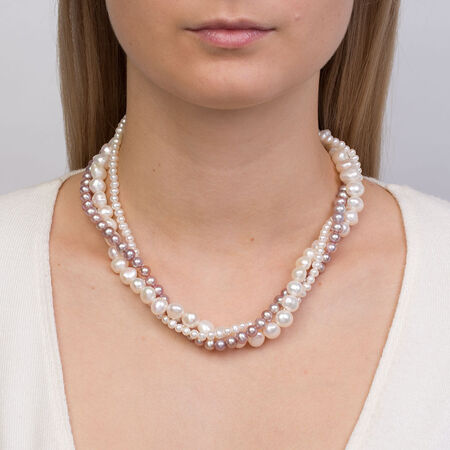 """45cm (18"""") Three Strand Necklace with White & Pink Cultured Freshwater Pearls in Sterling Silver"""
