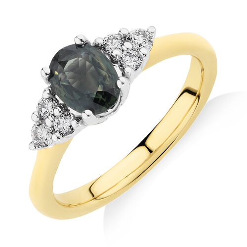Ring with Green Sapphire & 0.20 Carat TW of Diamonds in 10ct Yellow & White Gold