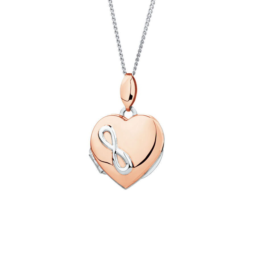 Heart Infinity Locket in 10ct Rose Gold & Sterling Silver