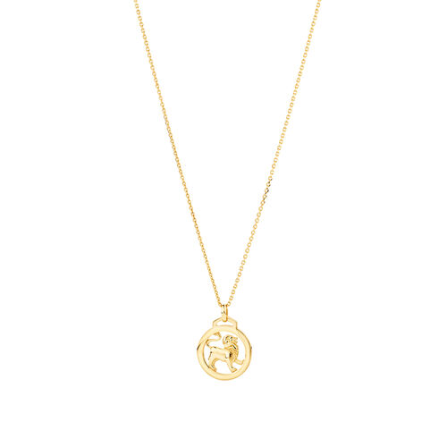 Leo Zodiac Pendant with Chain in 10ct Yellow Gold
