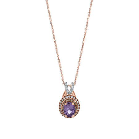 Pendant with Amethyst & 0.24 Carat TW of White & Brown Diamonds in 10ct Rose Gold