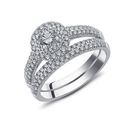Bridal Set with 1.00 Carat TW of Diamonds in 10ct White Gold