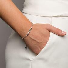 Adjustable Bracelet with Diamonds in Sterling Silver