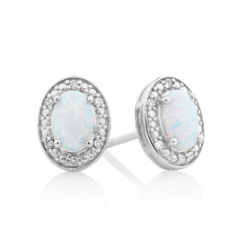 Halo Earrings with Created Opal and 0.04 Carat TW of Diamonds in Sterling Silver