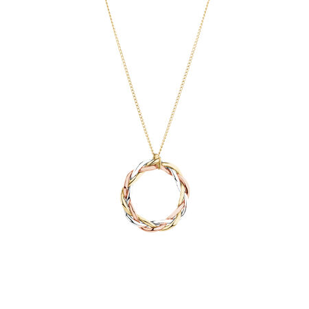 Plait Pendant in 10ct Yellow, White & Rose Gold