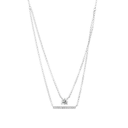 Layered Necklace with Cubic Zirconia in Sterling Silver